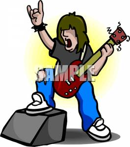265x300 Clipart Image A Rocker Playing Guitar On Stage