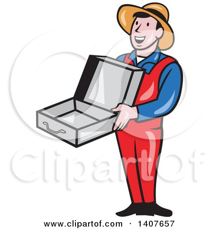 450x470 Clipart Of A Retro Cartoon Man Wearing A Hat And Overalls, Smiling