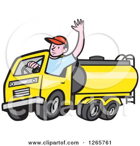 450x470 Clipart Of A Cartoon White Male Garbage Truck Driver Waving