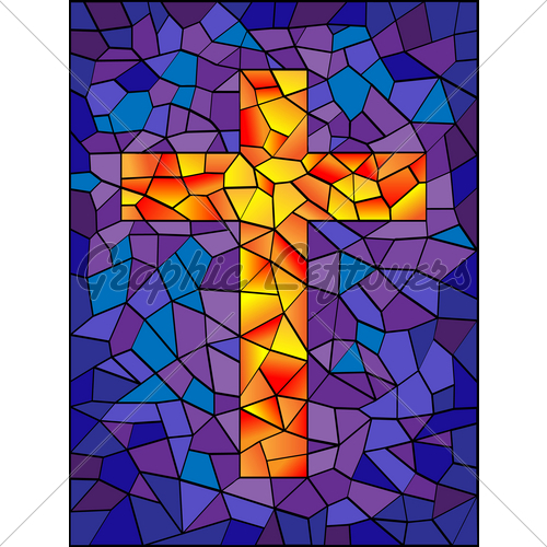 500x500 Stained Glass Cross Clip Art Royalty Free Gograph 7295636
