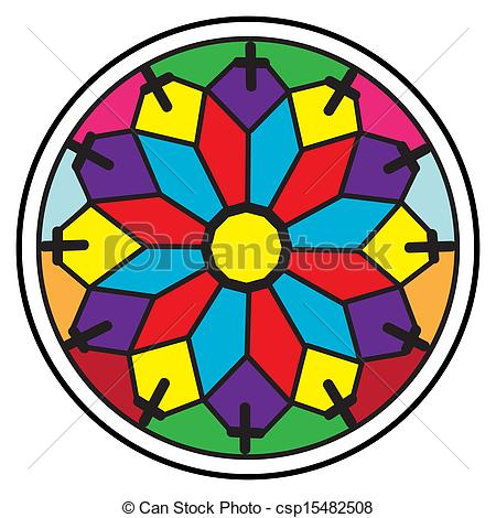 450x470 Stained Glass Rosette, Circular Decorative Modern Pattern Stock