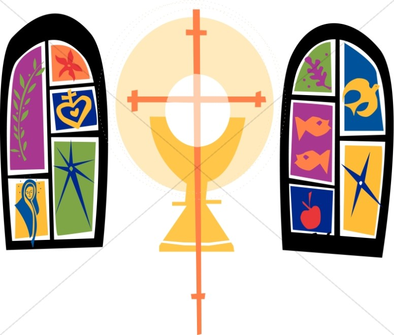 776x659 Two Colorful Stained Glass Windows And Communion Chalice