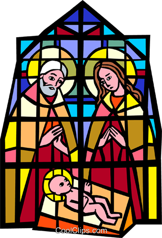 327x480 Stained Glass Jesus, Joseph, Mary Royalty Free Vector Clip Art