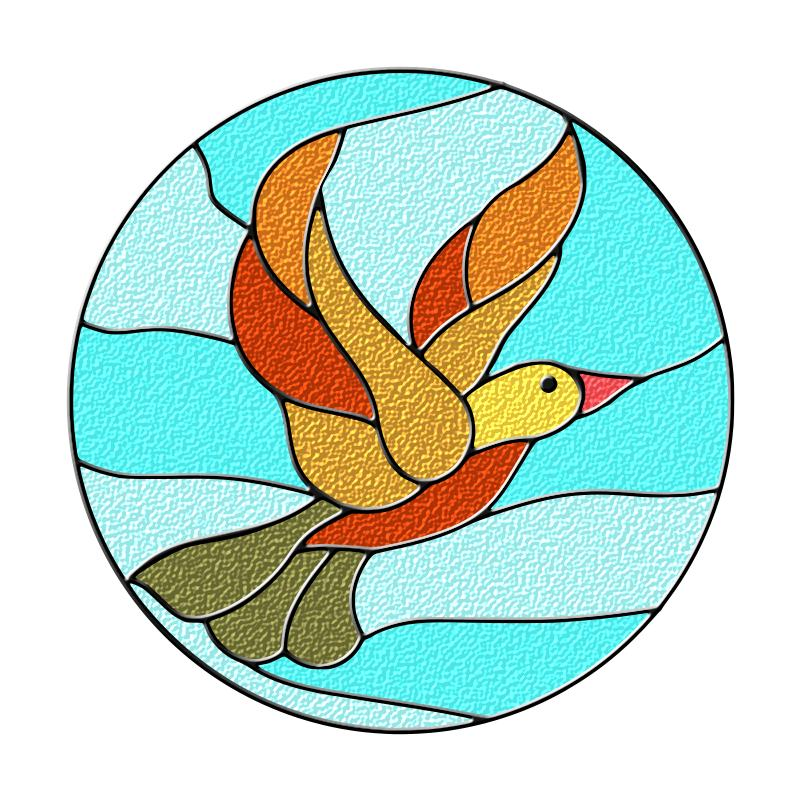 801x801 Bird Stained Glass Clipart