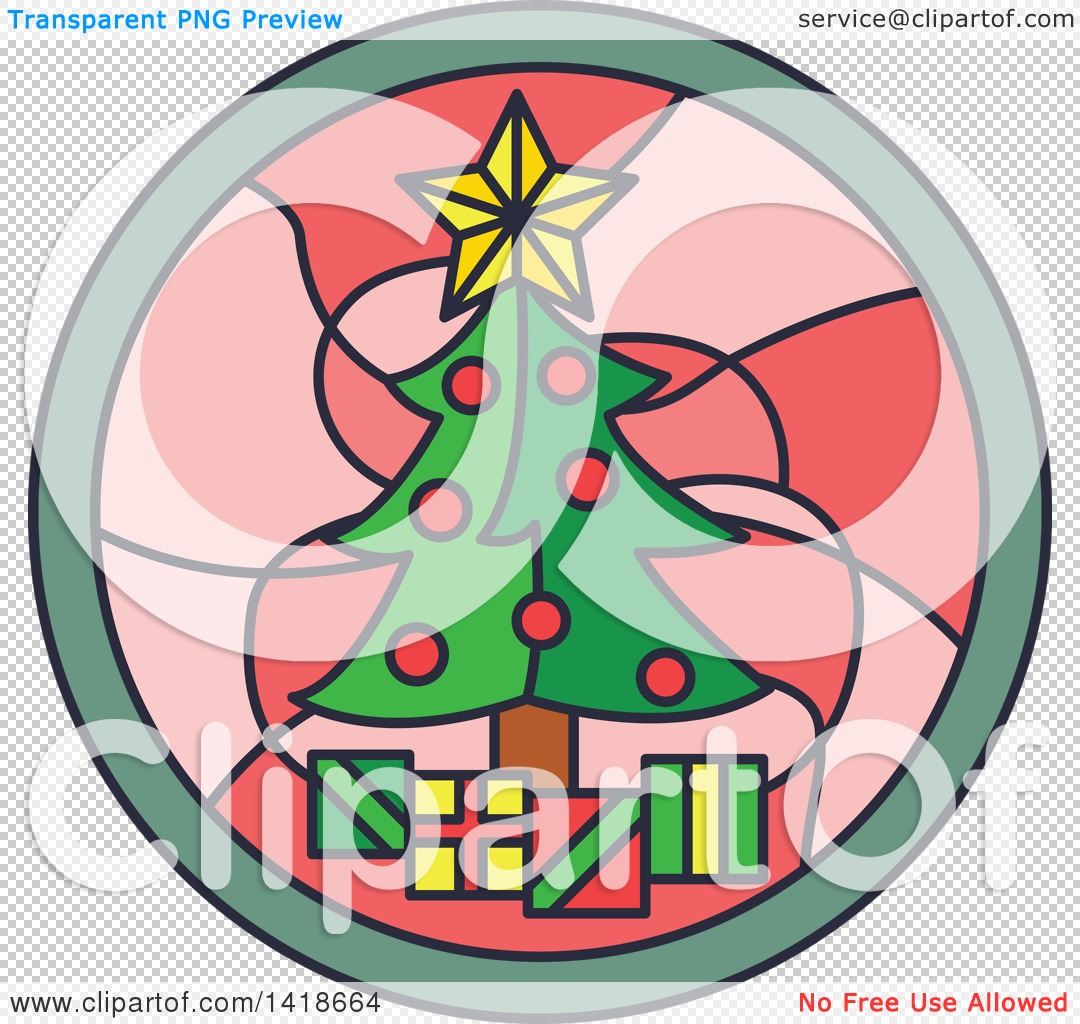 1080x1024 Clipart Of A Round Stained Glass Christmas Tree Design