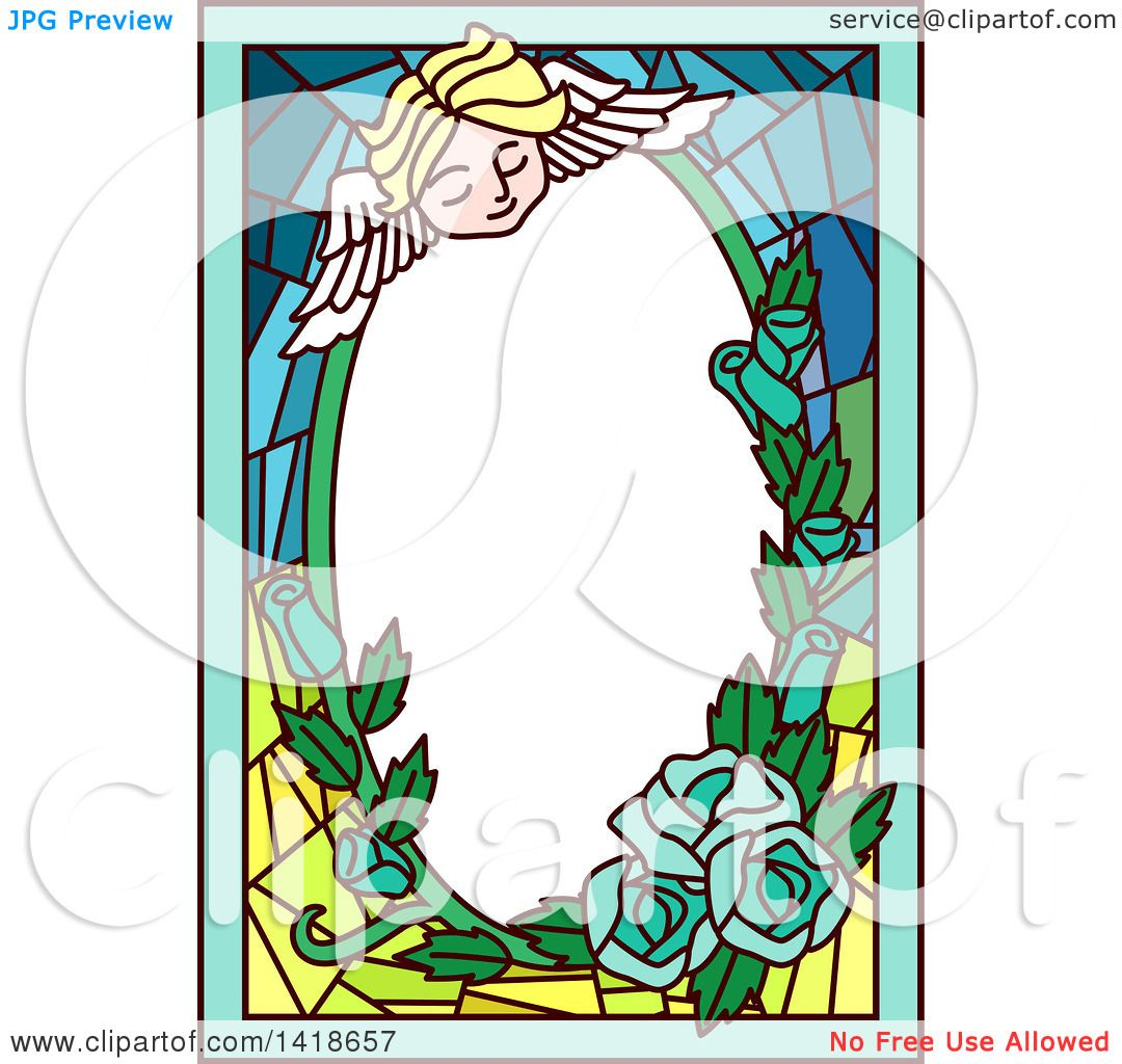 1080x1024 Clipart Of A Stained Glass Angel Cherub And Roses Frame