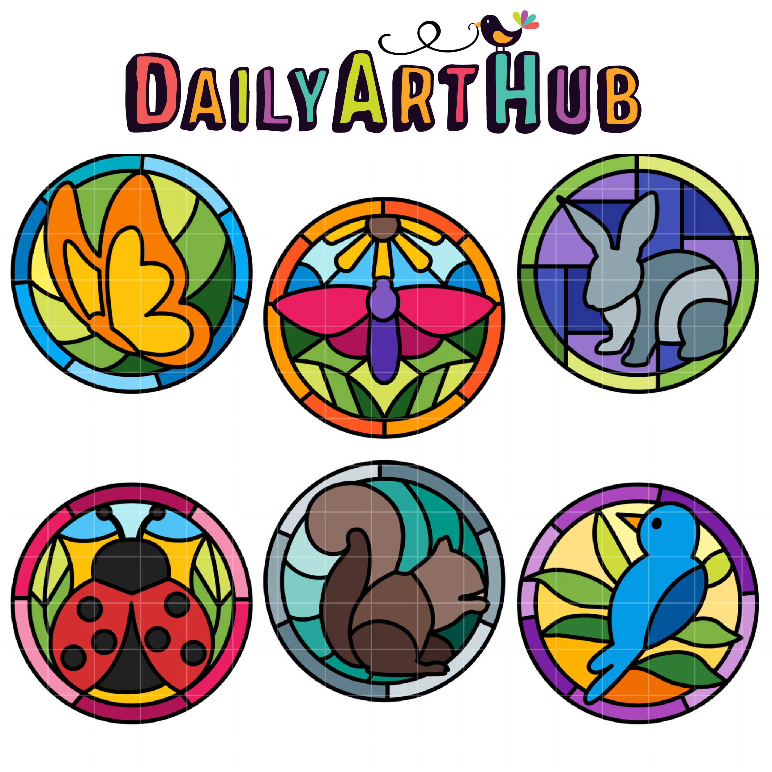 2497x2499 Stained Glass Creatures Clip Art Set Daily Art Hub Free Clip