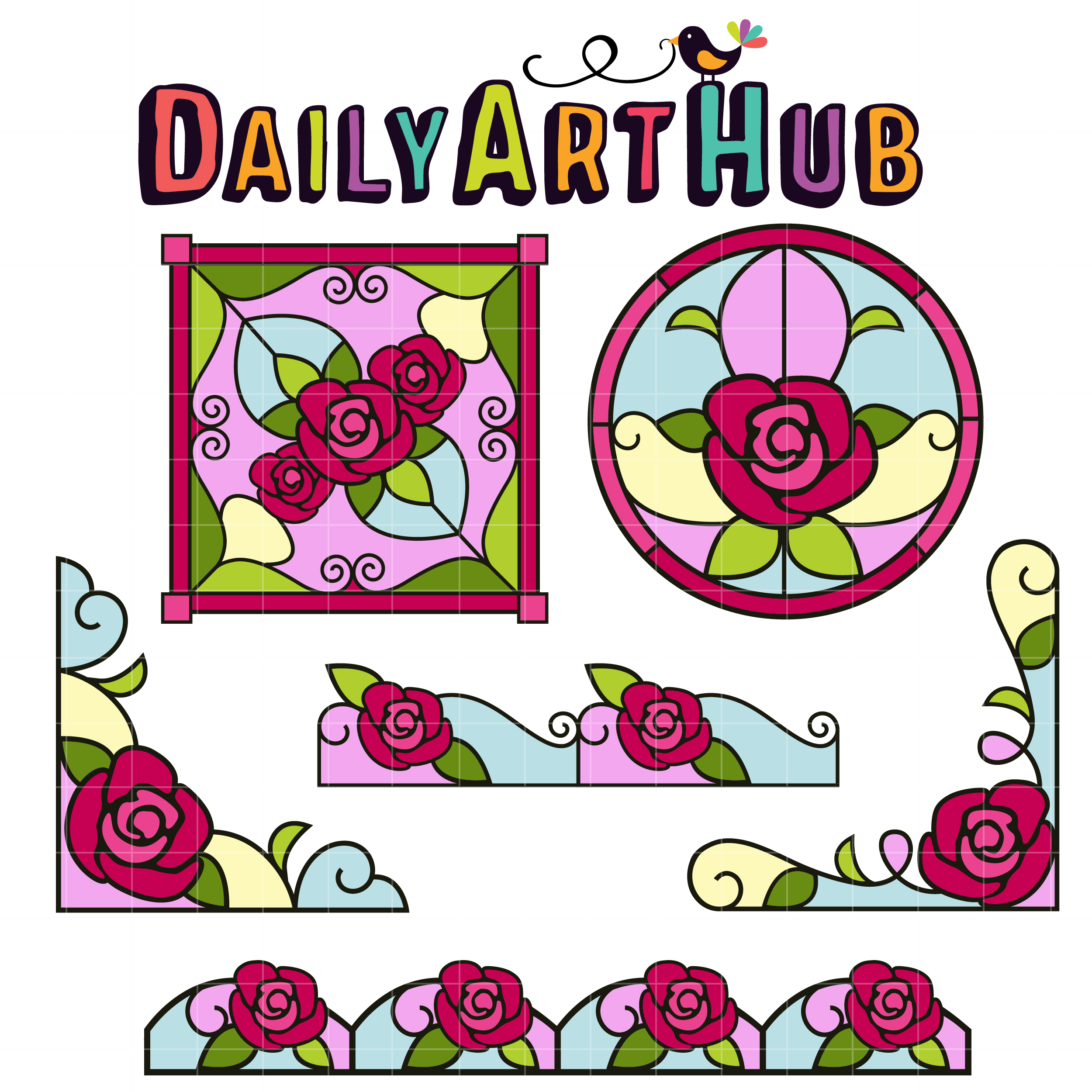 2500x2500 Stained Glass Roses Clip Art Set Daily Art Hub Free Clip Art