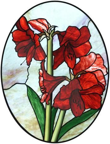 356x469 This Amaryllis Stained Glass Piece Would Make A Beautiful Stain