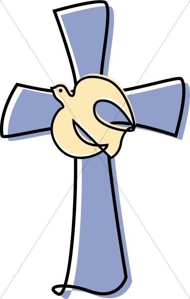 390x612 Lavendar Cross With A Dove Clipart