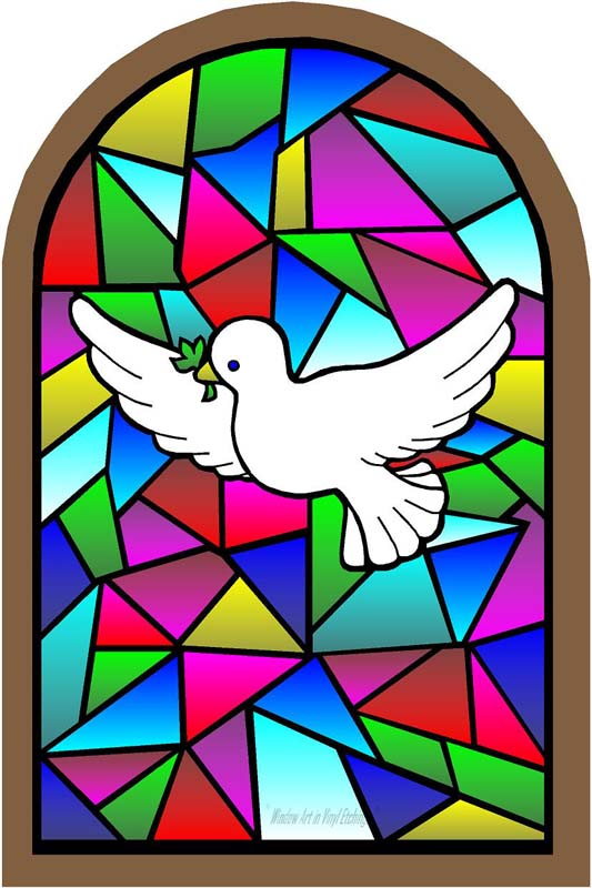 533x800 Window Art In Vinyl Etchings Store White Dove With Olive, Dove