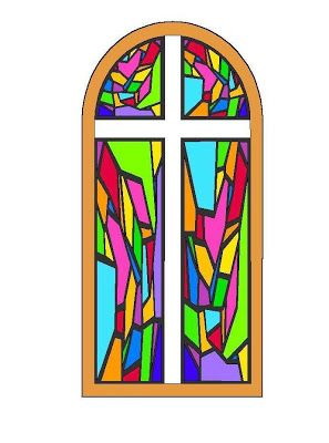 297x400 Stained Glass Cross With Sunrays