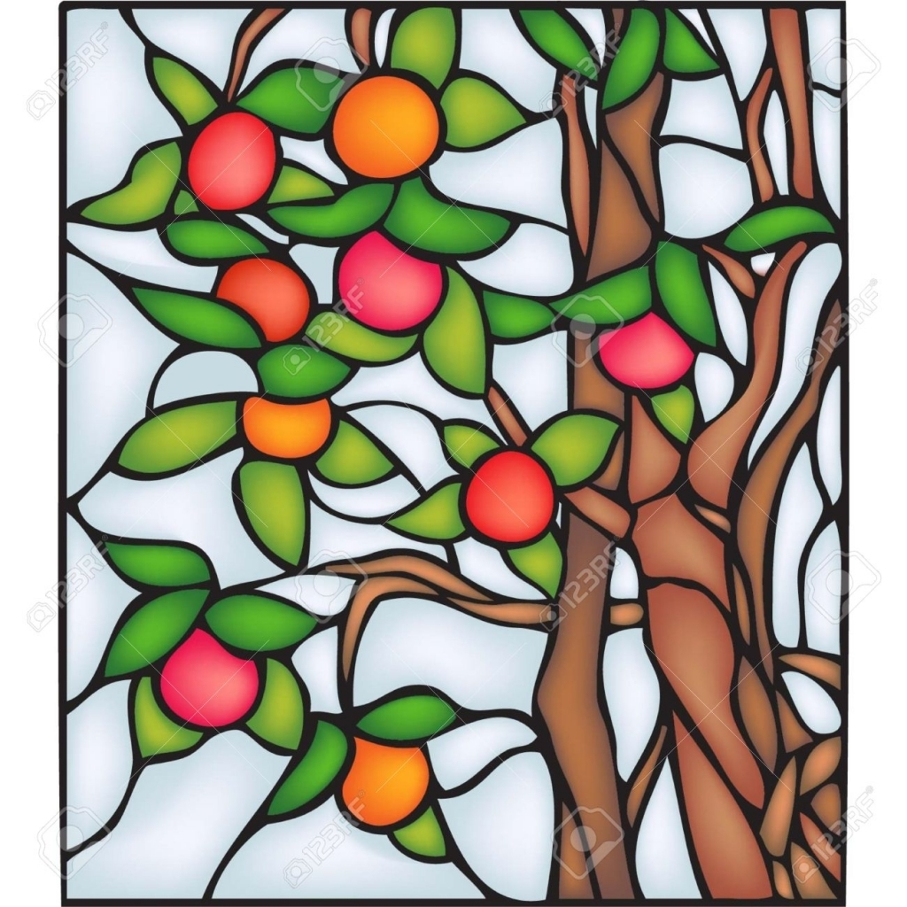 1024x1024 Apple Tree Stained Glass Window Royalty Free Cliparts Vectors