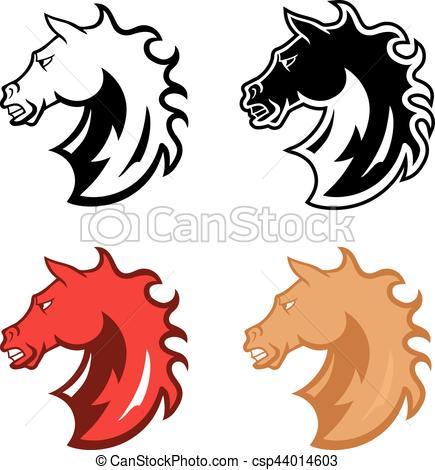 435x470 Mustang Head Mascot. Angry Wild Stallion In Cartoon Design
