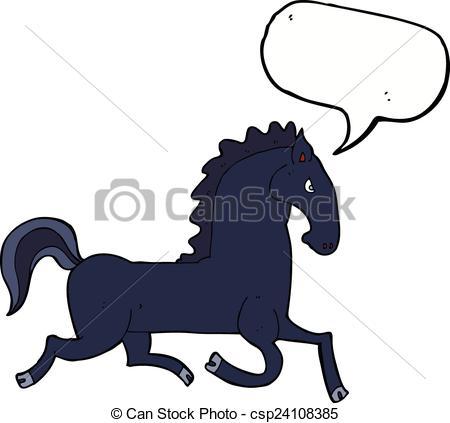 450x423 Cartoon Running Black Stallion With Speech Bubble Vector