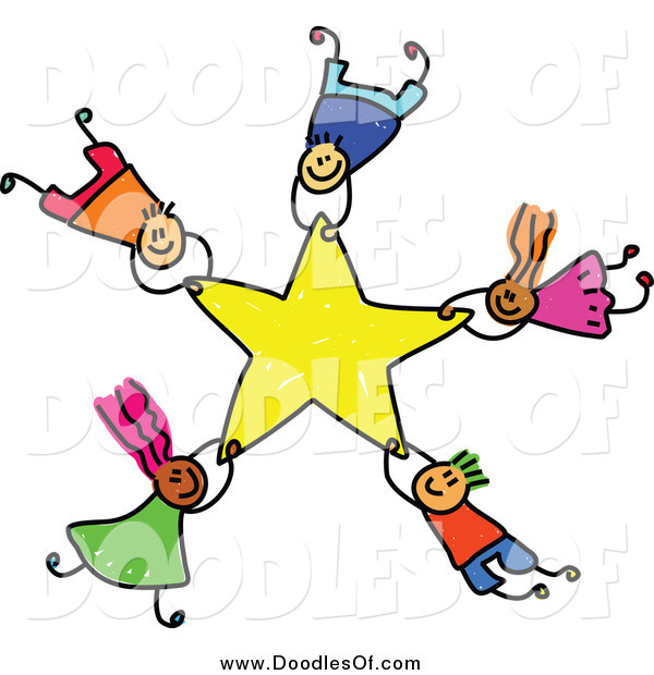 600x620 Vector Clipart Of Doodled Kids Falling With A Star By Prawny