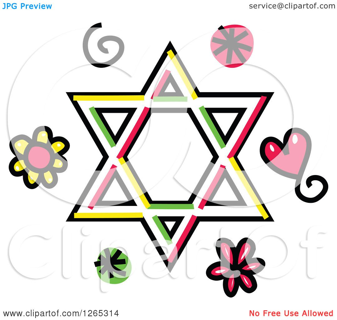 1080x1024 Clipart Of A Doodled Star Of David With Hearts Swirls And Flowers