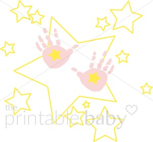 300x279 Pink Handprints With Stars Clipart Baby Footprint Clipart
