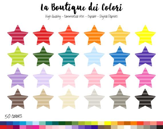 570x453 50 Rainbow Striped Star Clip Art, Banners Digital Illustrations