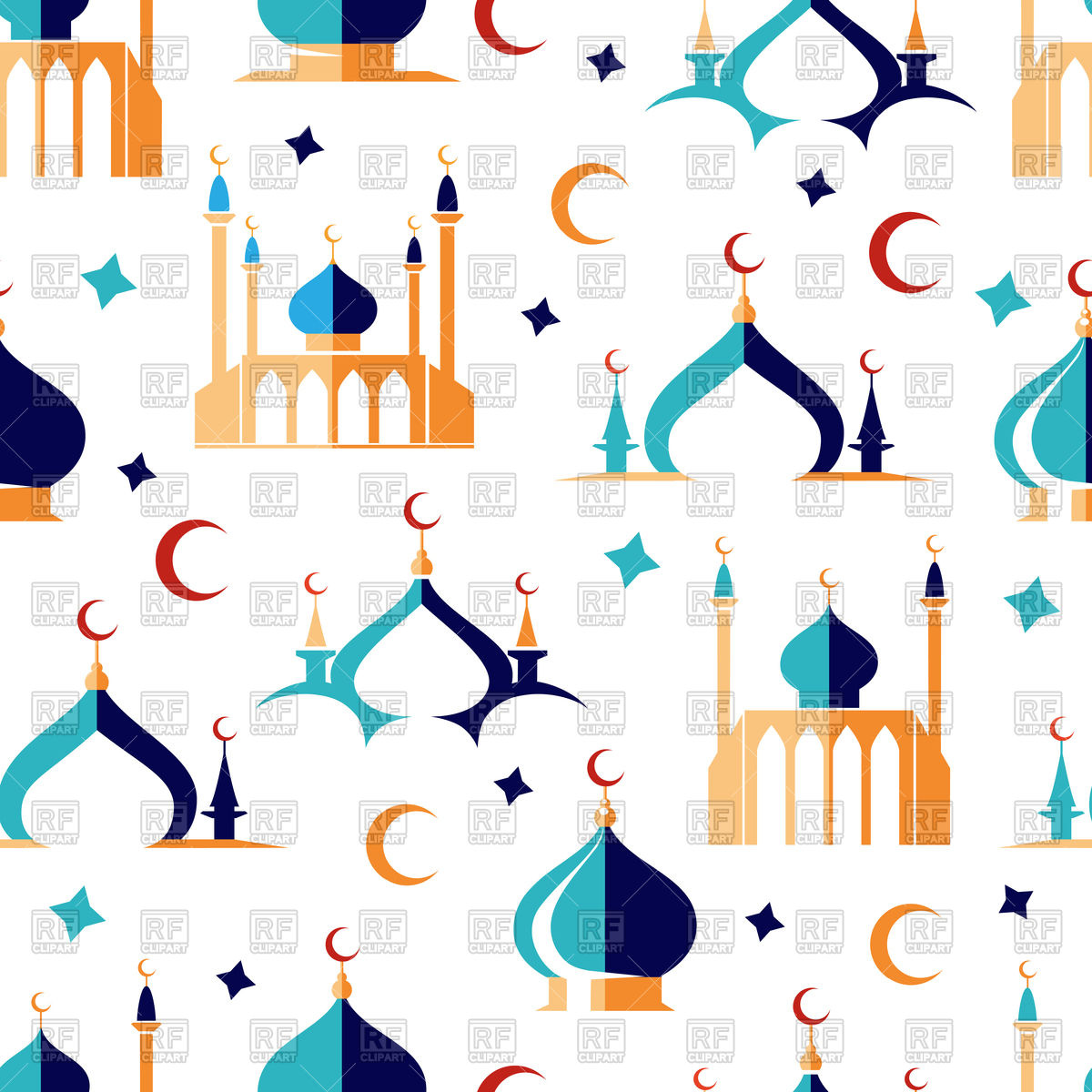 1200x1200 Arabic Seamless Pattern With Moon Stars And Mosque Vector Image