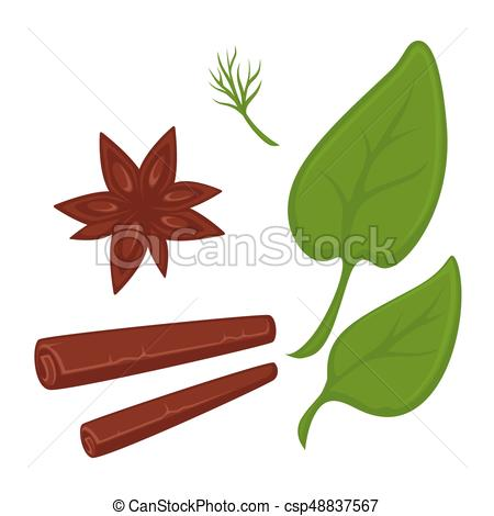 450x470 Cinnamon In Tube And Star Shapes And Fresh Greenery . Clip Art