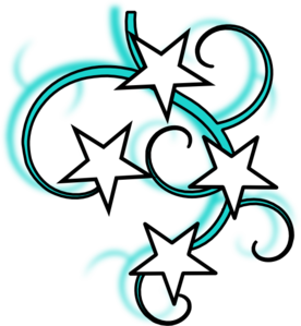 276x299 Teal And White Tattoo With Stars Black Outline Clip Art