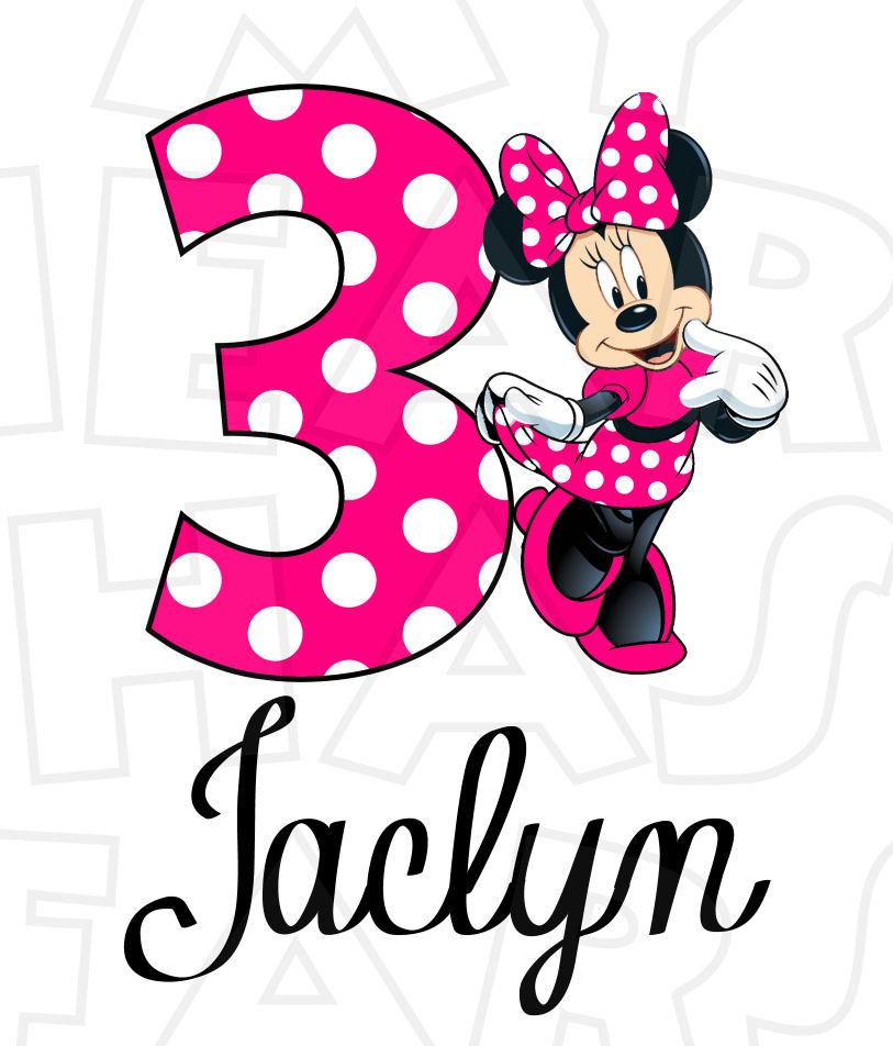 813x952 Minnie Mouse Hot Pink Full Body Birthday Personalized Any Name