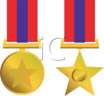 350x323 Gold Star Medals For Achievement