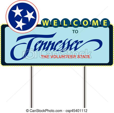450x448 Road Stand Welcome To Tennessee, The Volunteer State. Vector Clip