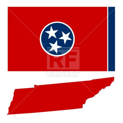 400x400 Tennessee State Map And Flag Royalty Free Vector Clip Art Image