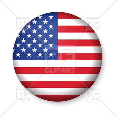 400x400 American United States Flag In Glossy Round Icon Royalty Free