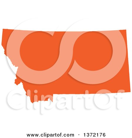450x470 Clipart Of An Orange Silhouetted Map Shape Of The State Of Montana