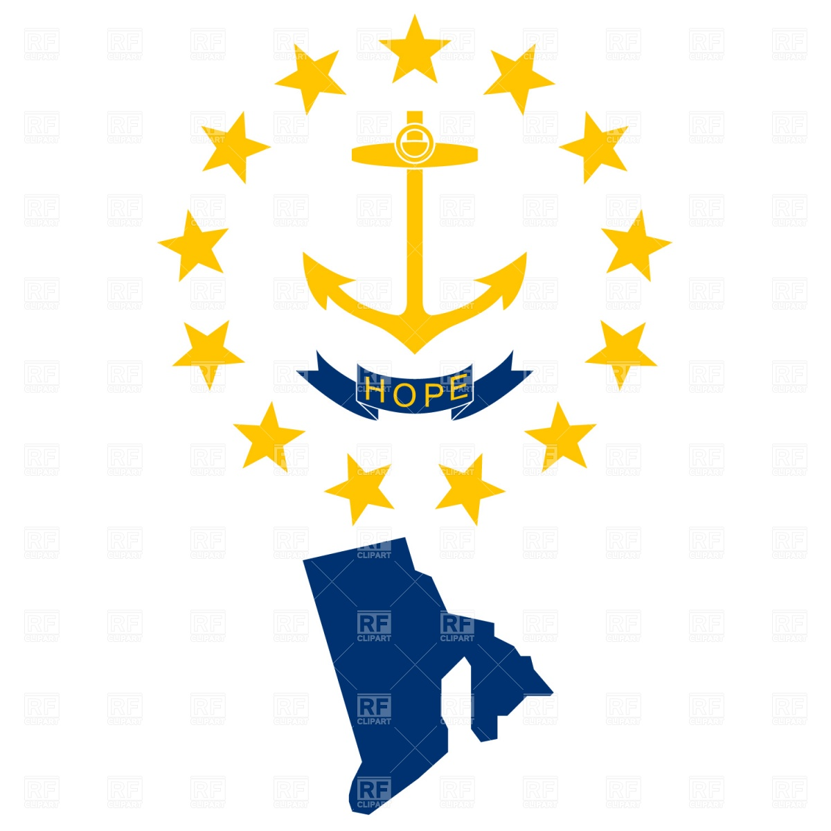 1200x1200 Rhode Island State Map And Flag Royalty Free Vector Clip Art Image