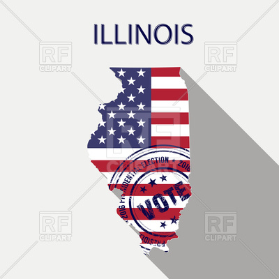 400x400 State Of Illinois Map With Flag And Presidential Day Vote Stamp