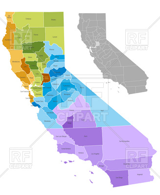 327x400 California State Counties Map With Boundaries And Names Royalty