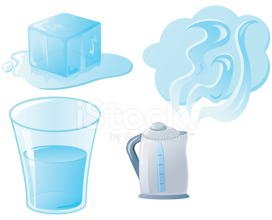 544x440 States Of Matter Solid, Liquid And Gas Stock Vector