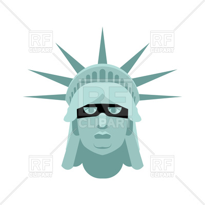 400x400 Statue Of Liberty In Mask Royalty Free Vector Clip Art Image