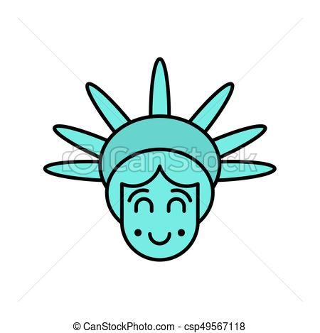 450x469 Statue Of Liberty Face Emoji. Sightseeing America. Happy Vector