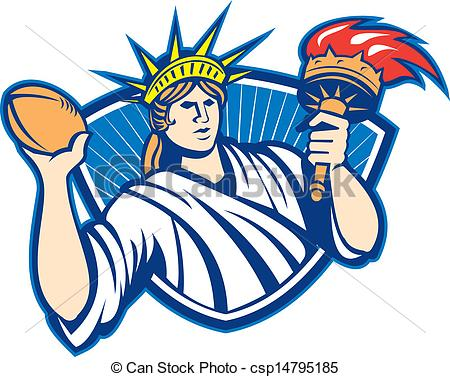 450x377 Statue Liberty Throwing Football Ball. Illustration
