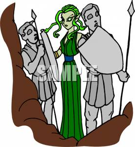 276x300 Clip Art Image Medusa Standing Among Her Stone Statues