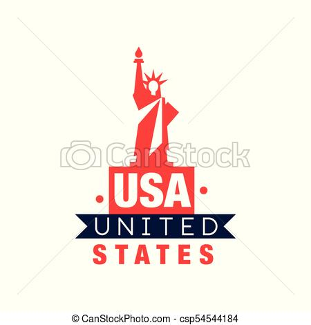 450x470 Monochrome Emblem With Statue Of Liberty Silhouette. United