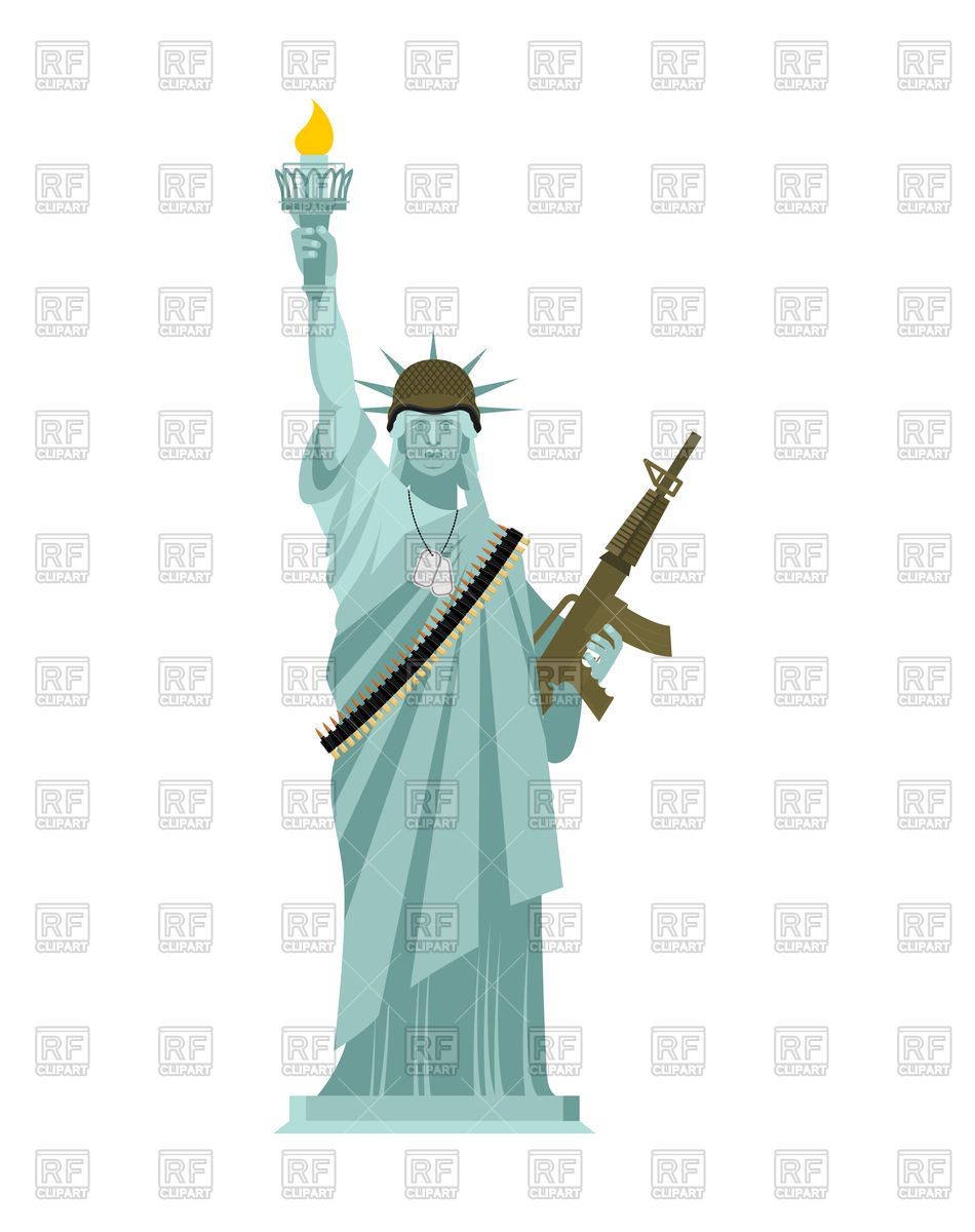 950x1200 Statue Of Liberty With Military Helmet And Weaponarmy. Machine Gun