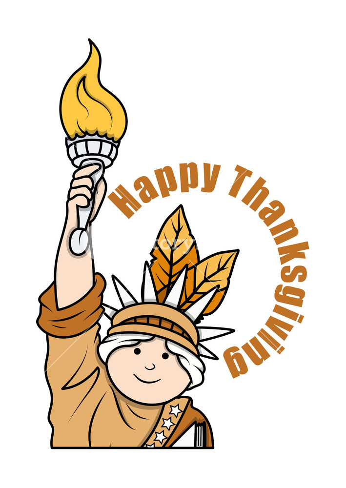 709x1000 Thanksgiving Day Statue Of Liberty Character Vector Royalty Free