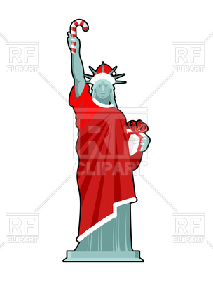 304x400 Christmas Statue Of Liberty With Candy Cane And Gift Box Royalty