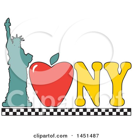 450x470 Clipart Graphic Of A I Love New York Design With An Apple