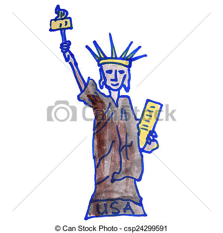 450x470 Drawing Children Watercolor Statue, Liberty Cartoon On A White