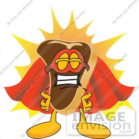 450x450 Clip Art Graphic Of A Beef Steak Meat Mascot Character In A Super