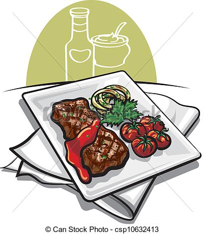411x470 Grilled Beef Steak With Tomato Sauce Vector Clip Art