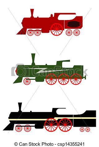 319x470 Steam Locomotives Set. Eps Vector