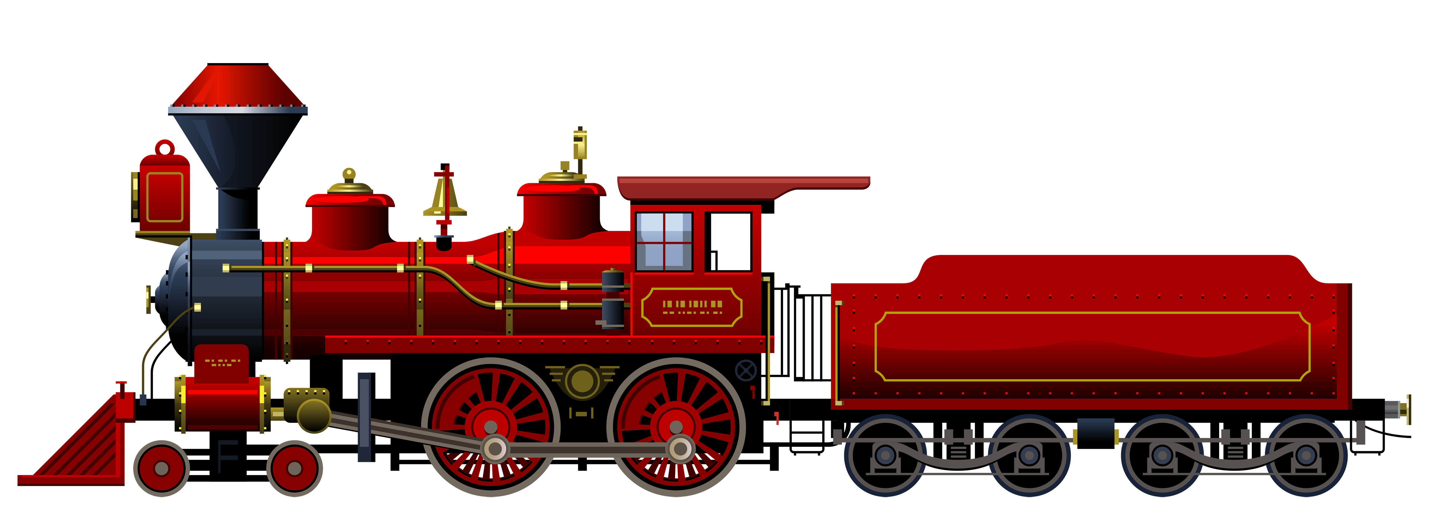 5000x1776 Red Locomotive Png Clipart